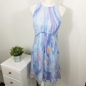 Sundance Blue 100% Silk Watercolor Dress Small